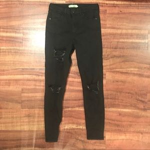 Topshop High Waisted Black Jaime Jeans Ripped